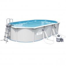Бассейн сборный BestWay 56369 Hydrium Oval Pool Set, стальной, овальный 610 х 360 х 120 см., морозоустойчивый,(в комплекте: песчаный фильтр-насос 3 785 л./ч., подстилка, лестница, скиммер)