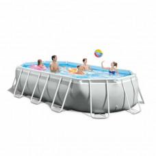 Бассейн каркасный, сборный INTEX 26796 Oval Prism Frame Pool, овальный 503 х 274 х 122 см.(в комплекте: фильтр-насос картриджный, лестница, тент, подстилка)