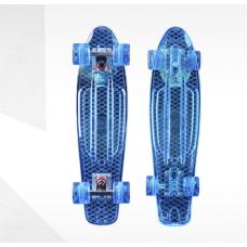 Скейтборд пластиковый Transparent 22 TTSL-401F-LB, голубой
