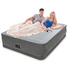Кровать надувная двухспальная со встроенным насосом 220В intex 64418, 152х203х56см