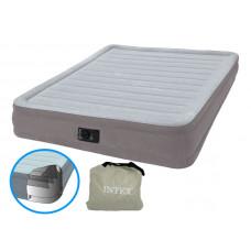 Кровать надувная двухспальная со встроенным насосом 220В intex 67770, 152х203х33см