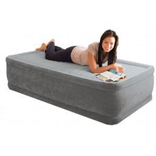 Кровать надувная односпальная со встроенным насосом intex 64412, 220В 99х191х46см