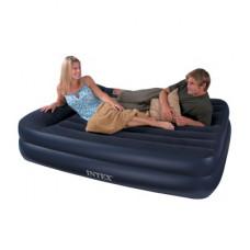 Надувная кровать двуспальная с встроенным насосом 220В, intex 64124, 152х203х42см